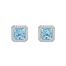 Princess Aquamarine Sterling Silver Earrings with Diamond