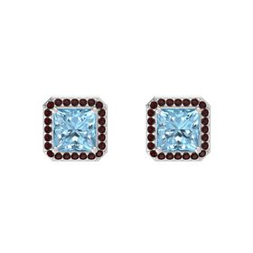 Princess Aquamarine Sterling Silver Earring with Red Garnet