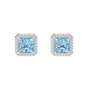 Princess Aquamarine Sterling Silver Earrings with White Sapphire