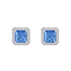 Princess Blue Topaz Sterling Silver Earrings with Diamond