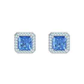 Princess Blue Topaz Sterling Silver Earring with Aquamarine