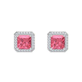 Princess Pink Tourmaline Sterling Silver Earring with Diamond