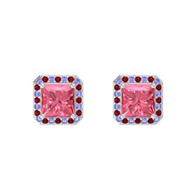 Princess Pink Tourmaline Sterling Silver Earring with Tanzanite and Ruby