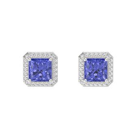 Princess Tanzanite Sterling Silver Earring with White Sapphire