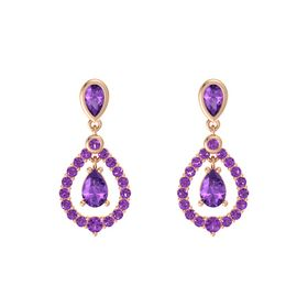 Pear Amethyst 14K Rose Gold Earrings with Amethyst
