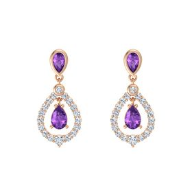 Pear Amethyst 14K Rose Gold Earrings with Amethyst & Diamond