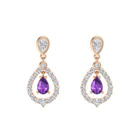 Pear Amethyst 14K Rose Gold Earrings with White Sapphire & Diamond