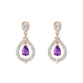 Pear Amethyst 14K Rose Gold Earrings with White Sapphire