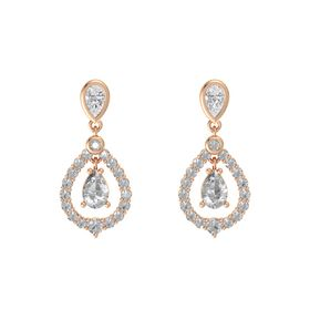 Pear Rock Crystal 14K Rose Gold Earring with White Sapphire and Rock Crystal