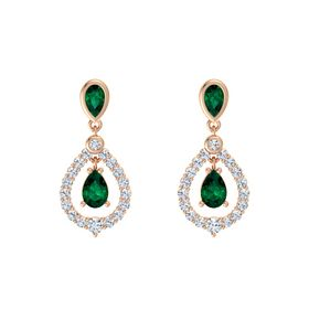 Pear Emerald 14K Rose Gold Earring with Emerald and Diamond