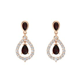 Pear Red Garnet 14K Rose Gold Earring with Red Garnet and White Sapphire