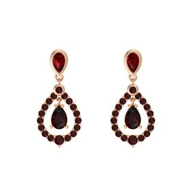 Pear Red Garnet 14K Rose Gold Earring with Ruby and Red Garnet