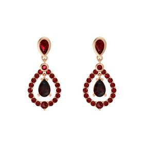 Pear Red Garnet 14K Rose Gold Earrings with Ruby