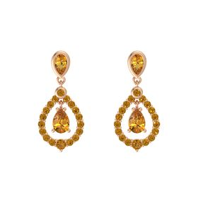 Pear Citrine 14K Rose Gold Earrings with Citrine