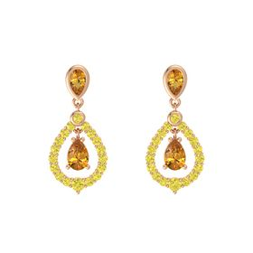 Pear Citrine 14K Rose Gold Earring with Citrine and Yellow Sapphire