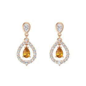 Pear Citrine 14K Rose Gold Earring with White Sapphire