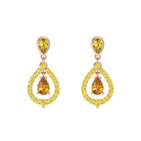 Pear Citrine 14K Rose Gold Earrings with Yellow Sapphire