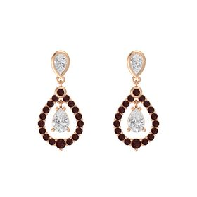 Pear White Sapphire 14K Rose Gold Earring with White Sapphire and Red Garnet