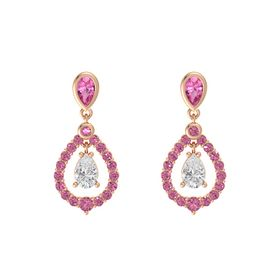 Pear White Sapphire 14K Rose Gold Earrings with Pink Tourmaline