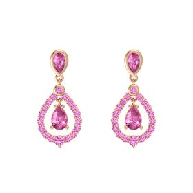 Pear Pink Sapphire 14K Rose Gold Earrings with Pink Sapphire