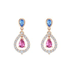 Pear Pink Sapphire 14K Rose Gold Earrings with Blue Topaz & Diamond