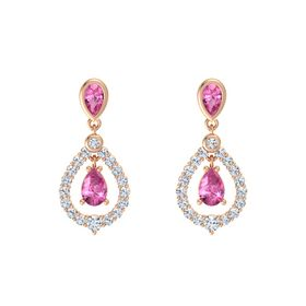 Pear Pink Sapphire 14K Rose Gold Earring with Pink Tourmaline and Diamond