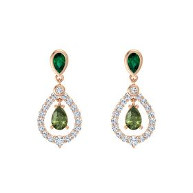 Pear Green Tourmaline 14K Rose Gold Earring with Emerald and Diamond