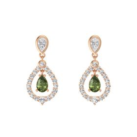 Pear Green Tourmaline 14K Rose Gold Earring with White Sapphire
