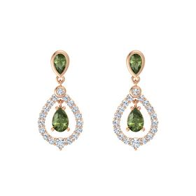 Pear Green Tourmaline 14K Rose Gold Earrings with Green Tourmaline & Diamond