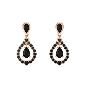 Pear Black Onyx 14K Rose Gold Earring with Black Onyx and Black Diamond