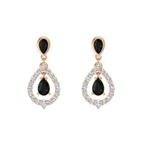 Pear Black Onyx 14K Rose Gold Earrings with Black Onyx & Diamond