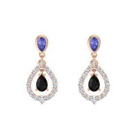 Pear Black Onyx 14K Rose Gold Earrings with Tanzanite & Diamond
