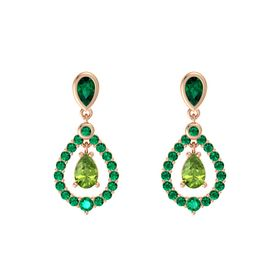 Pear Peridot 14K Rose Gold Earring with Emerald