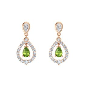 Pear Peridot 14K Rose Gold Earrings with White Sapphire & Diamond