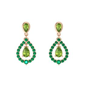 Pear Peridot 14K Rose Gold Earring with Peridot and Emerald