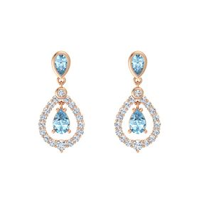 Pear Aquamarine 14K Rose Gold Earrings with Aquamarine & Diamond