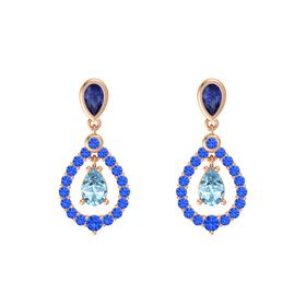 Pear Aquamarine 14K Rose Gold Earring with Blue Sapphire