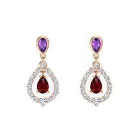 Pear Ruby 14K Rose Gold Earrings with Amethyst & Diamond