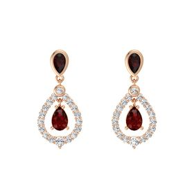 Pear Ruby 14K Rose Gold Earrings with Red Garnet & White Sapphire
