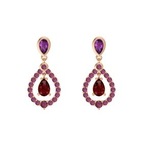 Pear Ruby 14K Rose Gold Earrings with Rhodolite Garnet