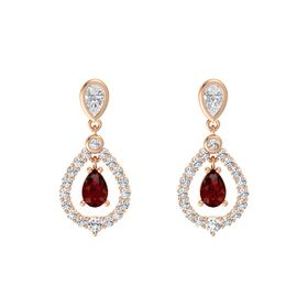 Pear Ruby 14K Rose Gold Earrings with White Sapphire