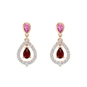 Pear Ruby 14K Rose Gold Earring with Pink Tourmaline and Diamond