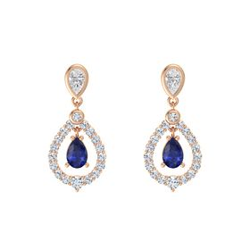 Pear Sapphire 14K Rose Gold Earrings with White Sapphire & Diamond