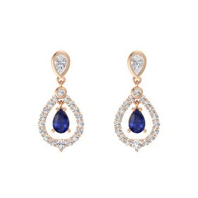 Pear Sapphire 14K Rose Gold Earrings with White Sapphire