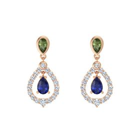 Pear Sapphire 14K Rose Gold Earrings with Green Tourmaline & Diamond