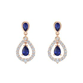 Pear Sapphire 14K Rose Gold Earrings with Sapphire & Diamond