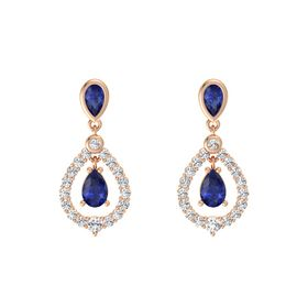 Pear Sapphire 14K Rose Gold Earrings with Sapphire & White Sapphire