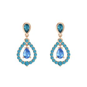 Pear Blue Topaz 14K Rose Gold Earring with London Blue Topaz