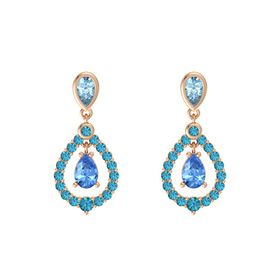 Pear Blue Topaz 14K Rose Gold Earring with Aquamarine and London Blue Topaz