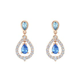 Pear Blue Topaz 14K Rose Gold Earrings with Aquamarine & Diamond